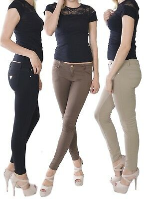 024 Damen Stretch Hose Treggings Jeans-Look Röhre Skinny Leggings Leggins
