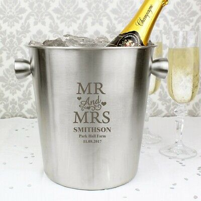 Personalised Mr & Mrs Stainless Steel Ice Bucket Champagne Prosecco Wedding Gift