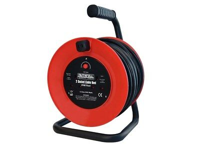Faithfull FPPCR20M Open Frame Cable Reel with Thermal Protection 20m 240v