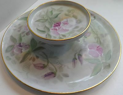 Vintage Antique Two- Tiered Plate R.S. Germany Hand Painted Flowers Signed