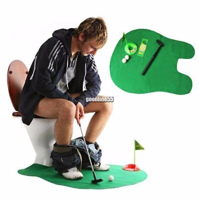 Toilet Bathroom Mini Golf Mat Potty Sitting Putter Putting Game Novelty EA9