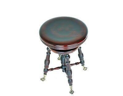 Antique Mahogany Adjustable Revolving Piano Stool On Glass Feet