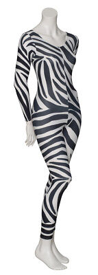 KDC017 Zebra Animal Print Long Sleeve Footless Dance Catsuit By Katz Dancewear