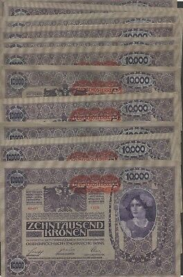 Austria 10,000 Kronen  21 notes lot  2.11.1918   Circulated Banknote