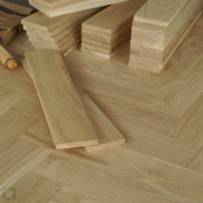 14inch Solid Oak Battens - 10mm thick Herringbone Parquet Overlay Flooring HN30