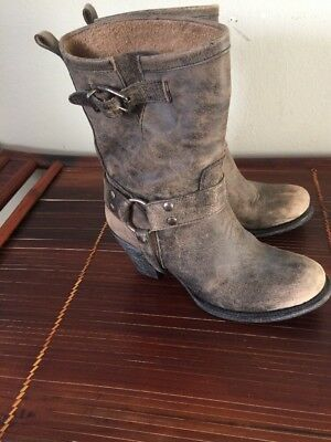 womens matisse helms taupe distressed leather harness boots shoes 8