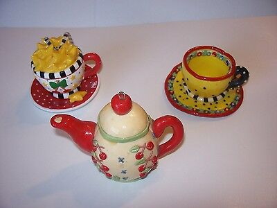 Mary Engelbreit 3 ORNAMENTS Teacups Saucers Red Cherries Black Dots Kitchen Cute