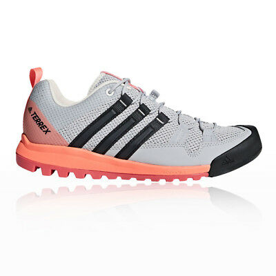 9d07f8081198 adidas Womens Terrex Solo Walking Shoes Grey Orange Pink Sports Trainers