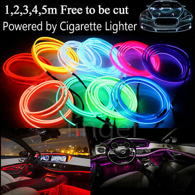RGB LED EL Wire Neon Glow Car Interior Atmosphere Strip Light Vehicle Decor Belt