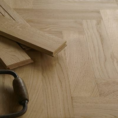 16mm Solid Oak Herringbone Parquet Flooring -  Low profile - Prime Grade / HS43