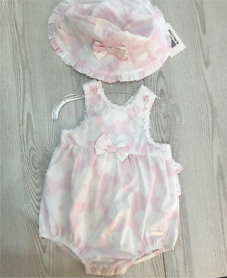 Baby Girls 100% Cotton Romper Suit and Matching Sun Hat by Zip Zap