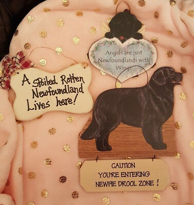 3 Newfoundland Dog Hanging Wood Signs and Wall Plaques - Super cute!