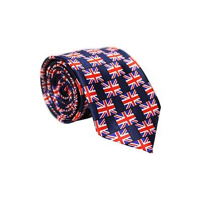 60fe6ed6f5cd Multi Flag Great Britain UK British Nation United Kingdom Union Jack Slim  Tie