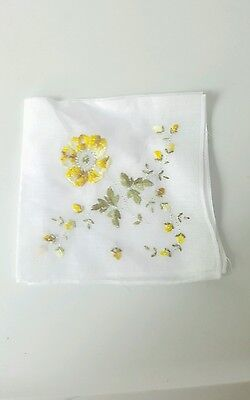 Vintage 1950s Yellow Embroidered handkerchief something old