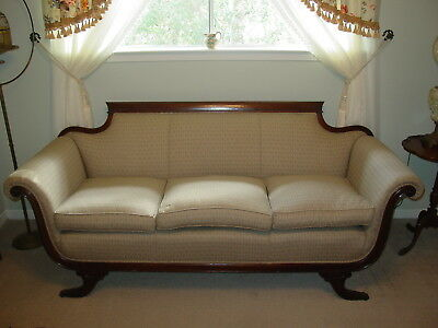 Antique 1920s Mahogany Duncan PhyfeStyle Sofa~Excellent Neutral Upholstery~NICE