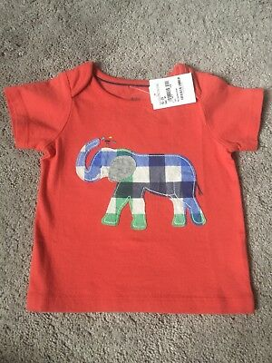 NWT Baby Boden Toddler Boys Tee Shirt, Red Patch Work Plaid Elephant 18-24 Month