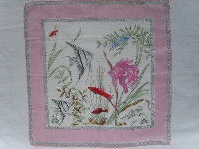 Vintage AQUARIUM Fish HANDKERCHIEF Pink Pocket square Rolled hem 32 cm 12.5""