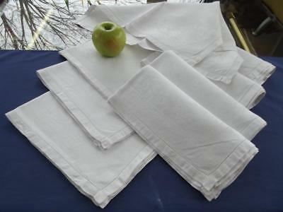 "8 Antique White Irish Sturdier Linen Hemstitched  20"" Lunch Napkins Damask Roses"