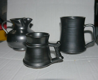 3 items of Prinknash - 2 tankards and one jug