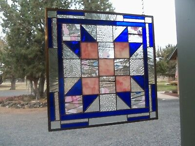 Stained Glass Quilt Pattern Window Quilter Love t Hanging Art   14 by 14 inches