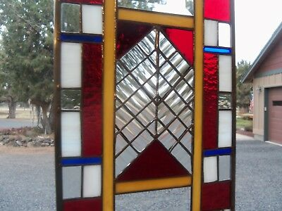Stained Glass with Frank Lloyd Wright flare Hanging Art   9 by 16 inches