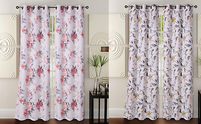 "1 Set (Floral) High Quality Window Curtain Blackout Room Darkening In 63"" 84"" L"