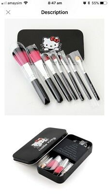 7pc/set Hello Kitty Professional Bridal Cosmetic Makeup Brush Set With Metal Box