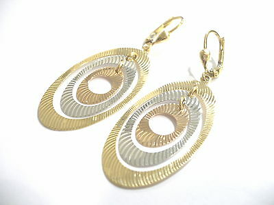 Gold Earrings 18Kt 750 Hanging Ovals Three Colors