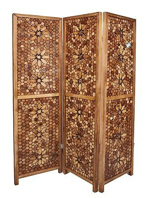 3 PANEL WALNUT Solid Wood Screen Room Divider Floral Design By