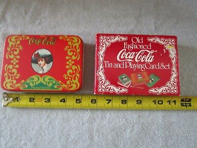 Vintage Coca Cola 1970 Playing Cards in Tin Box w/Score Pad & Pencil NOS w/FS