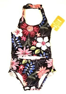 Gymboree Girls Swimsuit 6-12 Months Floral Print Navy Blue Pink Purple Baby Girl