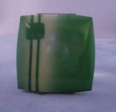 Pretty Vintage ART DECO Czecho Little Compact Green Air Brushed 1920s-30s