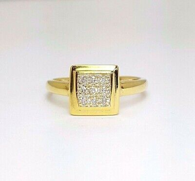 Ladies Ring 9ct (375, 9K) Yellow Gold Ladies 0.15ct Natural Diamond Square Ring