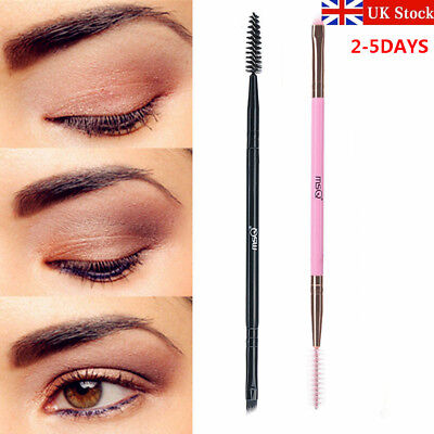 UK Double Sided Brow Makeup Brush Bamboo Handle Duo Eyebrow Flat Angled Brush