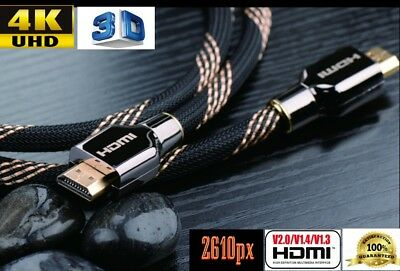 Premium Braided HDMI Cable v2.0 UHD 4K 2610px 3D High Speed Ethernet ARC HEC
