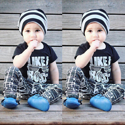 Toddler Kids Infant Baby Boy Cute Letter T shirt Tops Pants Outfits Clothes Set