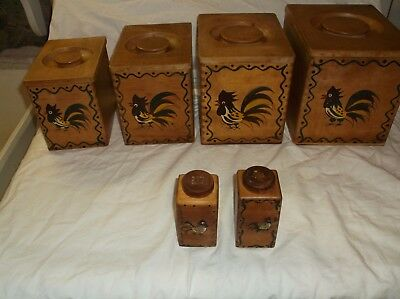 Set of 4 Wood Canisters with a Salt & Pepper shakers