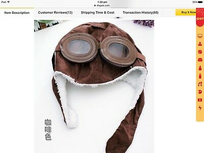 Boys Warm Lined Brown Aeroplane Aviator Hat Beanie With Goggles New