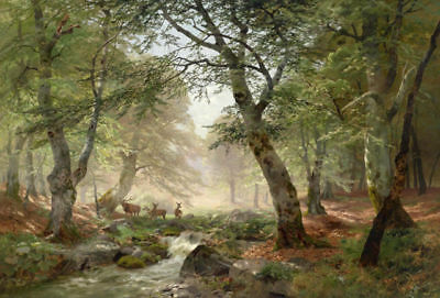 Huge Oil painting Heinrich Bohmer nice summer landscape with deer stream forest