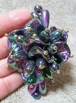 Vtg New Beaded Iridescent Purple, Green & Gold Hair Barrette French Clip Nos
