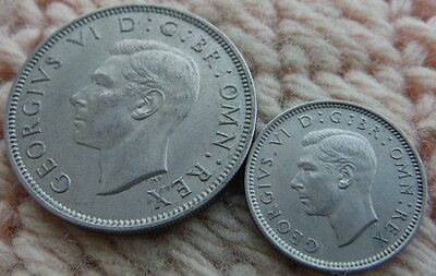 UK Great Britain Sixpence 1949, Two Shillings 1950 UNC MS Lot of 2