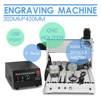 4 Axis 3040 Router Engraver Engraving Cutter T-Screw Desktop Cutting Usb Cnc