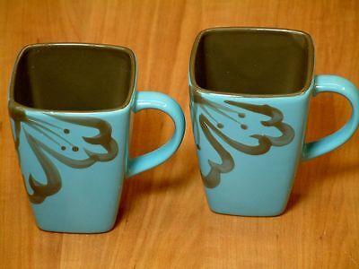 2 Pier 1 Stoneware Hibiscus Square Blue Coffee Mugs Brown Handpainted Flower