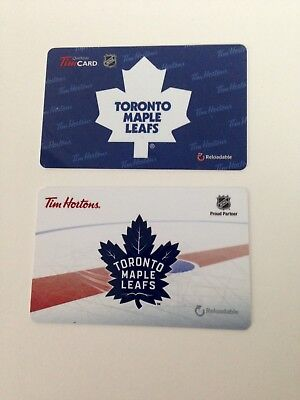 Lot of 2 TIM HORTONS Gift Card ZERO $ Balance NHL TORONTO MAPLE LEAFS, No Value