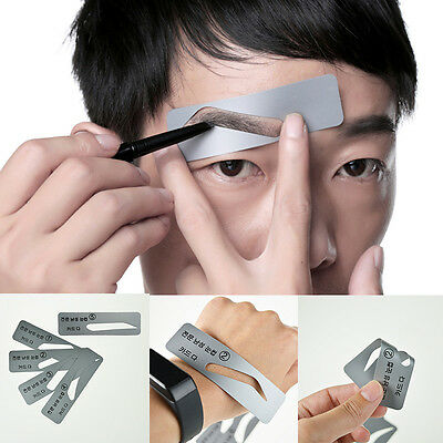 5 Styles Brow Drawing Guide Eyebrow Template Grooming Stencil for Mens NEW Uwwj