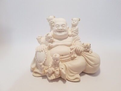"Sitting Laughing Buddha with Children Imt Ivory ""Happiness"" 80mm  Post/L-Pickup"