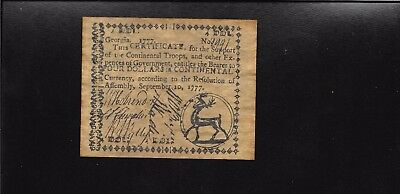 1777 Georgia Colonial Currency $ 4 dollars  Reproduction Copy