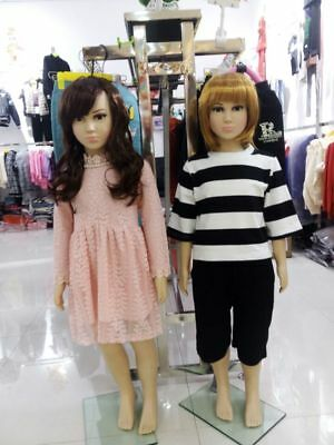 Kids Full Body With Wig Clothes Display Showcase Commercial Detachable 110cm