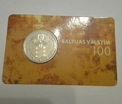 """***LATVIA*** 2018   2€ CC """"Centenery of the Baltic States"""" COIN CARD"""