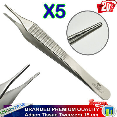 Adson Tissue Forceps 15cm Dental Dissecting Tweezer Surgical Dressing Plier 5PCS